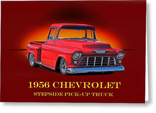 Custom Grill Greeting Cards - 1956 Chevrolet Custom Pick Up Greeting Card by Dave Koontz