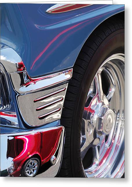 Wagon Wheels Photographs Greeting Cards - 1956 Chevrolet Handyman Wagon Wheel -179c Greeting Card by Jill Reger