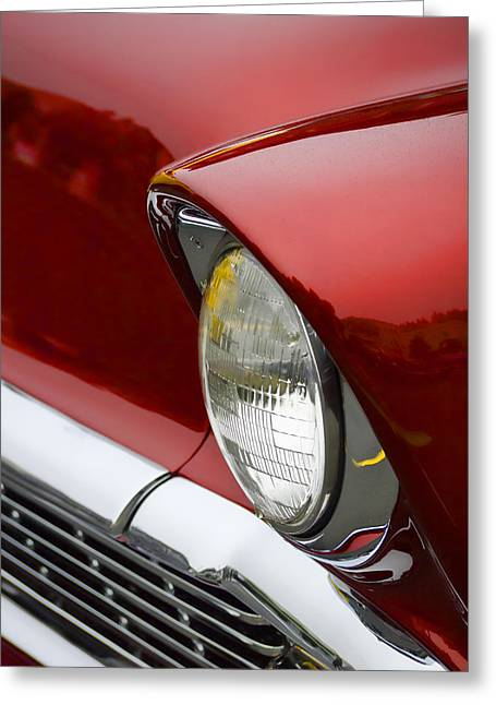 Headlight Greeting Cards - 1956 Chevrolet Headlamp Greeting Card by Carol Leigh