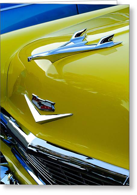 Vintage Hood Ornament Greeting Cards - 1956 Chevrolet Hood Ornament 3 Greeting Card by Jill Reger