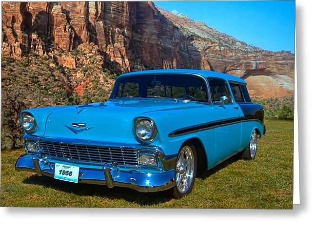Station Wagon Greeting Cards - 1956 Chevrolet Nomad Greeting Card by Tim McCullough