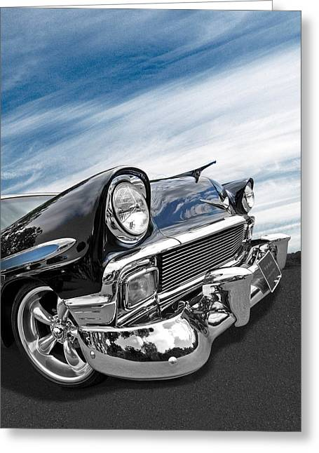 Big Block Greeting Cards - 1956 Chevrolet with Blue Skies Greeting Card by Gill Billington