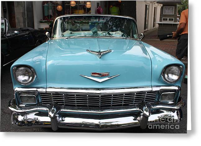 Print On Canvas Greeting Cards - 1956 Chevy Bel-Air Greeting Card by John Telfer