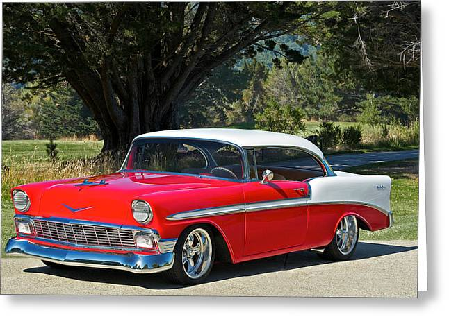 Custom Grill Greeting Cards - 1956 Chevy Bel Air West Greeting Card by Dave Koontz