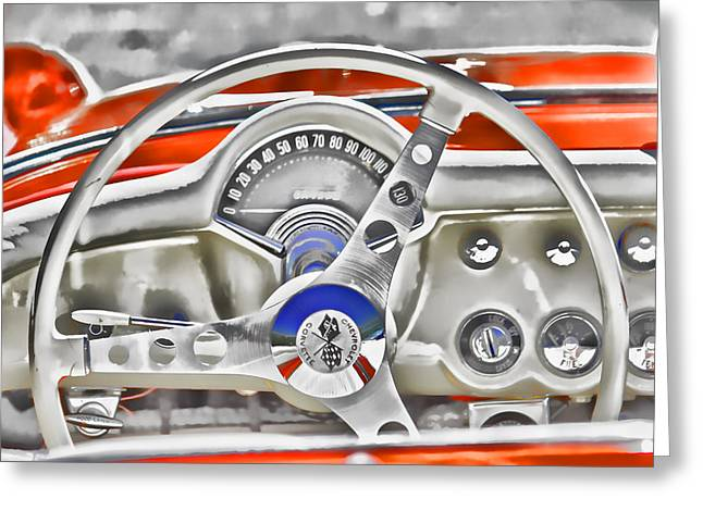1956 Chevy Corvette Dash Wowc Greeting Card by Kevin Anderson