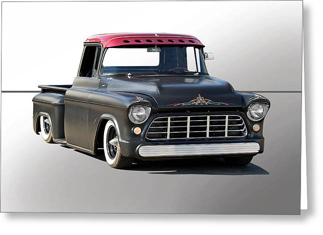 Slam Greeting Cards - 1956 Chevy Lowrider Custom Greeting Card by Dave Koontz