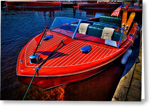 Vintage Boat Greeting Cards - 1956 Chris-Craft Capri Classic Runabout Greeting Card by David Patterson