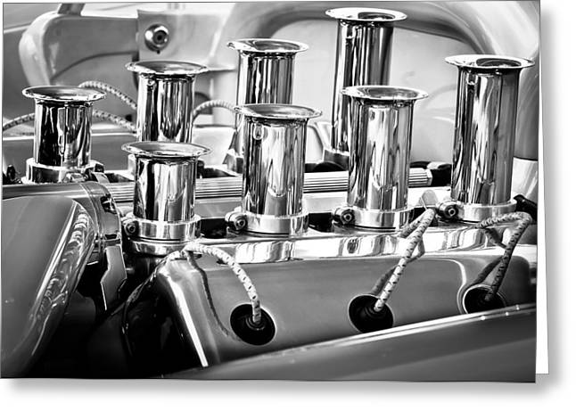 Hot Rod Photography Greeting Cards - 1956 Chrysler Hot Rod Engine Greeting Card by Jill Reger