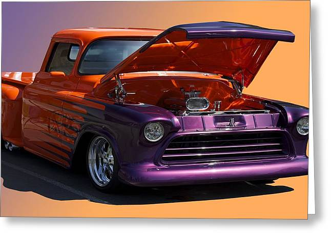 Slam Photographs Greeting Cards - 1956 Custom Chevy Pick-UP Greeting Card by Dave Koontz
