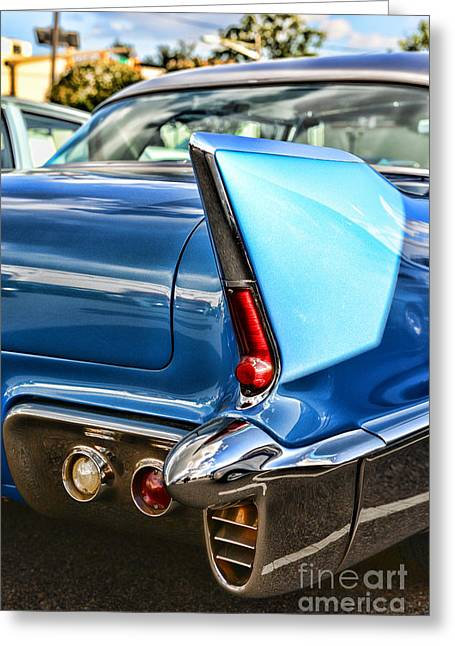 Caddy Greeting Cards - 1956 Eldorado Tail Fin Greeting Card by Paul Ward