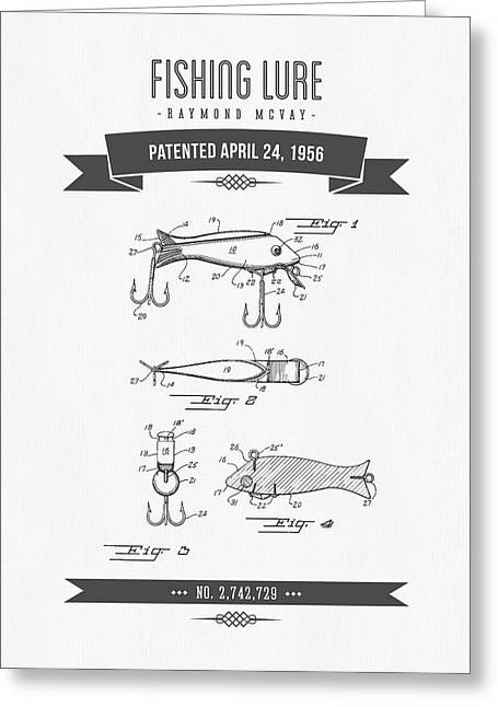 Fishing Mixed Media Greeting Cards - 1956 Fishing Lure Patent Drawing Greeting Card by Aged Pixel