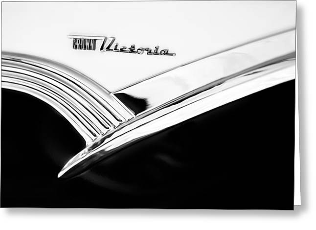 1956 Ford Crown Victoria Glass Top Emblem -3168bw Greeting Card by Jill Reger