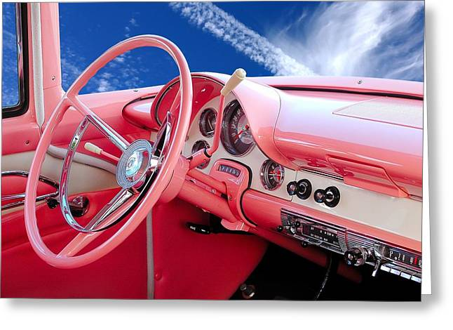 Dash Greeting Cards - 1956 Ford Crown Victoria interior Greeting Card by Jim Hughes