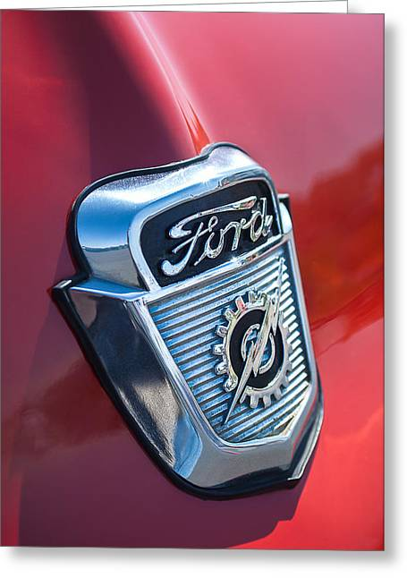1956 Greeting Cards - 1956 Ford Emblem Greeting Card by Jill Reger