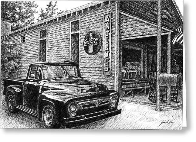 1956 Ford F-100 Fordomatic Truck Greeting Cards - 1956 Ford F-100 Truck Greeting Card by Janet King