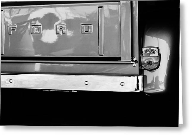 Classic Pickup Greeting Cards - 1956 Ford F-100 Truck Taillight Emblem Greeting Card by Jill Reger