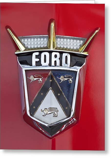 1956 Greeting Cards - 1956 Ford Fairlane Emblem Greeting Card by Jill Reger