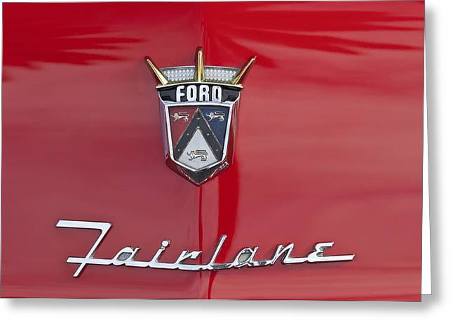 1956 Greeting Cards - 1956 Ford Fairlane Hood Emblem Greeting Card by Jill Reger