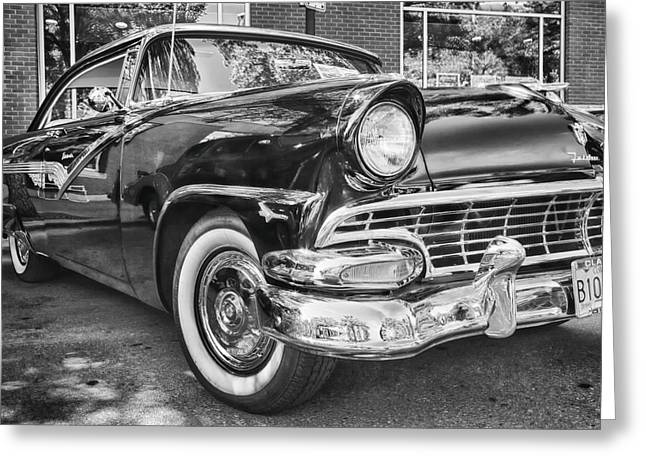 Collector Hood Ornament Greeting Cards - 1956 Ford Fairlane Greeting Card by Theresa Tahara