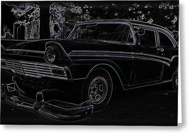 32 Ford Truck Greeting Cards - 1956 Ford Neon Coupe Greeting Card by Steve McKinzie