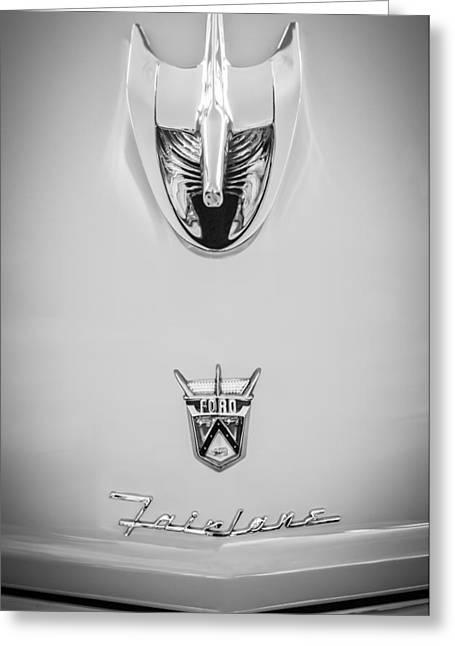 Wagon Greeting Cards - 1956 Ford Parklane Wagon Hood Ornament - Emblem -0347bw Greeting Card by Jill Reger