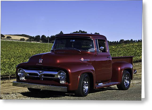 1956 Ford Truck Greeting Cards - 1956 Ford Pickup Greeting Card by Patricia Stalter