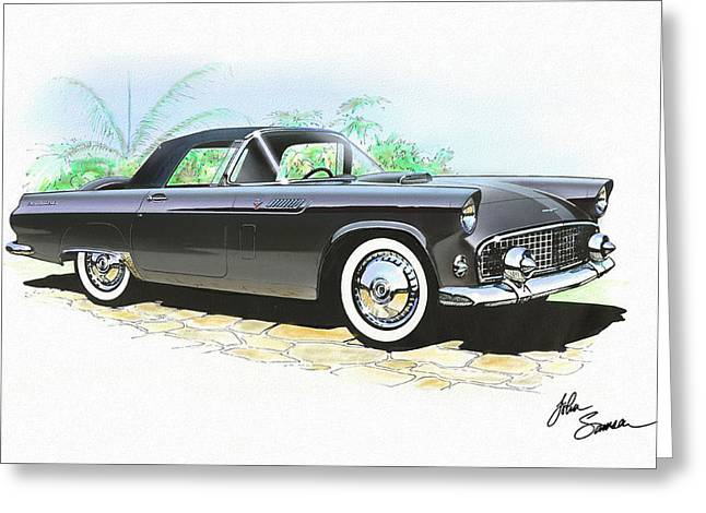 Valiant Greeting Cards - 1956 FORD THUNDERBIRD  black  classic vintage sports car art sketch rendering         Greeting Card by John Samsen