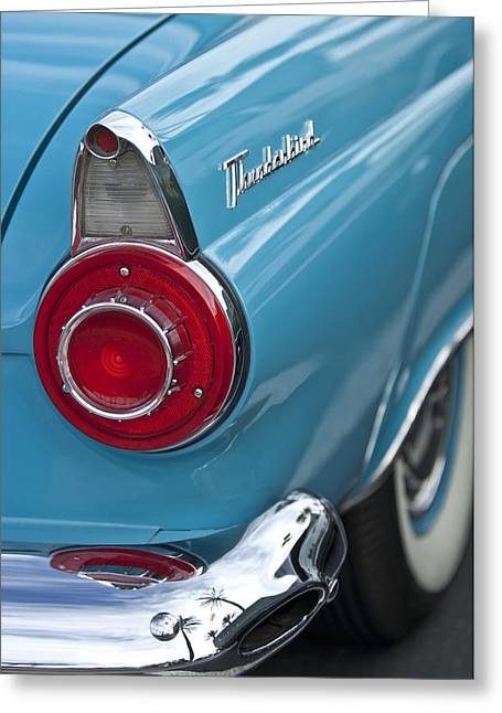 Tail Light Greeting Cards - 1956 Ford Thunderbird Taillight and Emblem Greeting Card by Jill Reger
