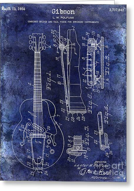 Ohs Greeting Cards - 1956 Gibson Electric Guitar Patent Drawing Blue Greeting Card by Jon Neidert