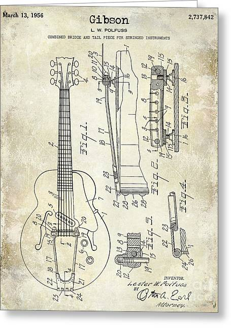 Les Greeting Cards - 1956 Gibson Electric Guitar Patent Drawing  Greeting Card by Jon Neidert