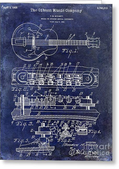 Les Paul Greeting Cards - 1956 Gibson Guitar Patent Drawing Blue Greeting Card by Jon Neidert