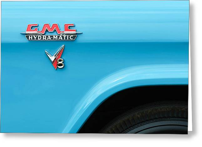 Gmc Greeting Cards - 1956 GMC 100 Deluxe Edition Pickup Truck Emblem Greeting Card by Jill Reger