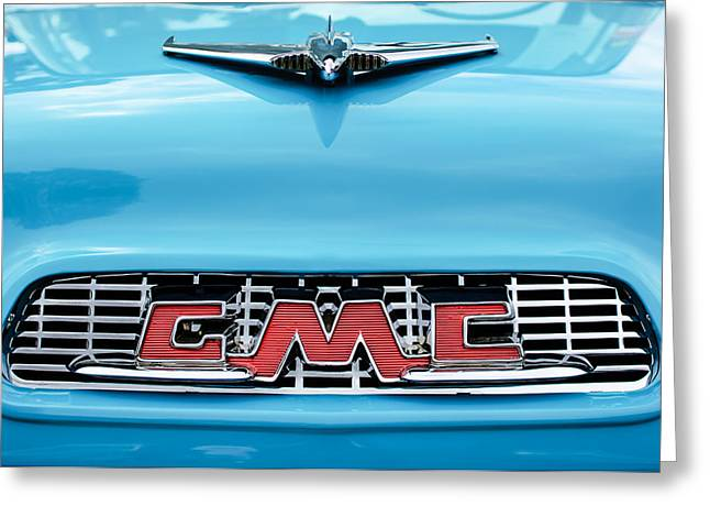 Classic Pickup Truck Greeting Cards - 1956 GMC 100 Deluxe Edition Pickup Truck Hood Ornament - Grille Emblem Greeting Card by Jill Reger