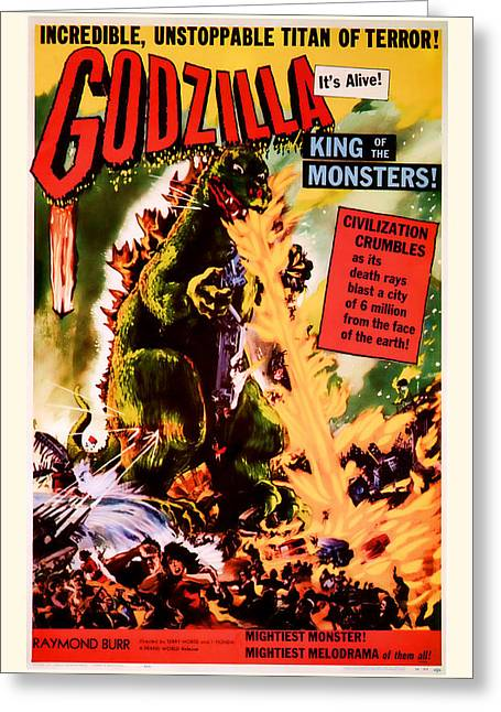 Suspense Mixed Media Greeting Cards - 1956 Godzilla Vintage Movie Art Greeting Card by Presented By American Classic Art