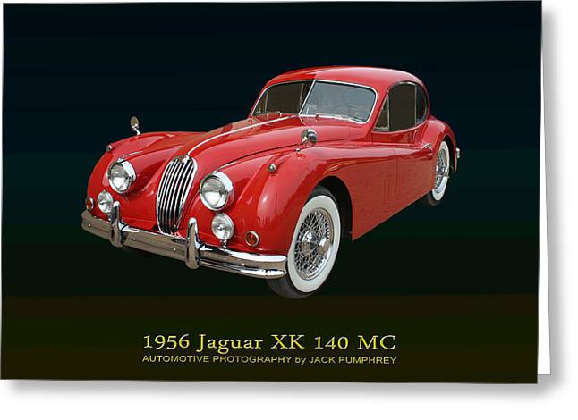 Jaguars Mixed Media Greeting Cards - 1956 Jaguar X K 140 M C Greeting Card by Jack Pumphrey