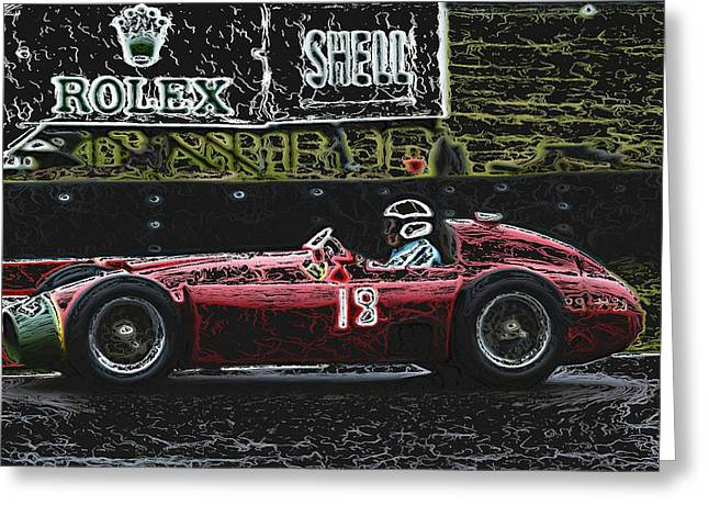 Single Seater Greeting Cards - 1956 Lancia Ferrari D50A abstract Greeting Card by John Colley