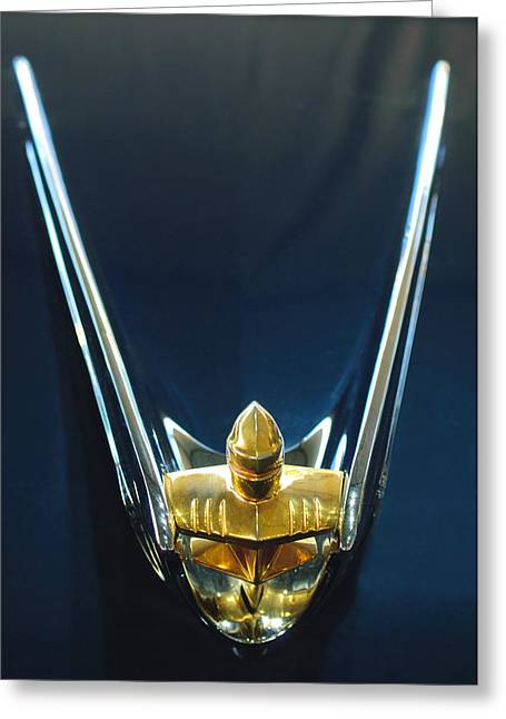 Vintage Hood Ornament Greeting Cards - 1956 Lincoln Premiere Convertible Hood Ornament Greeting Card by Jill Reger