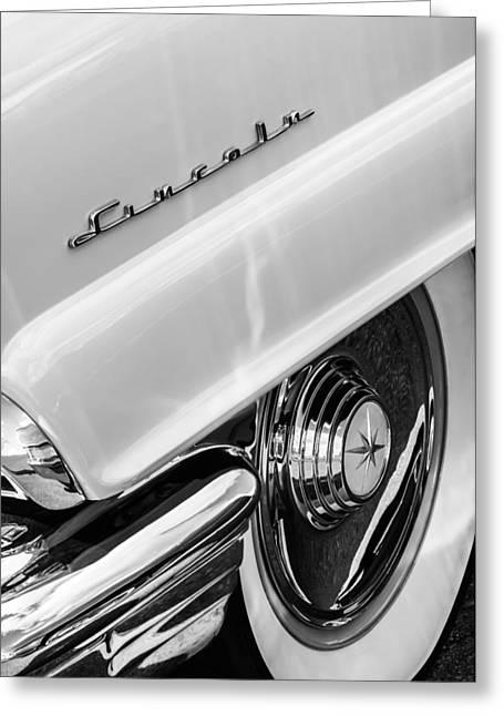 1956 Lincoln Premiere Rear Emblem  - Wheel -0828bw Greeting Card by Jill Reger