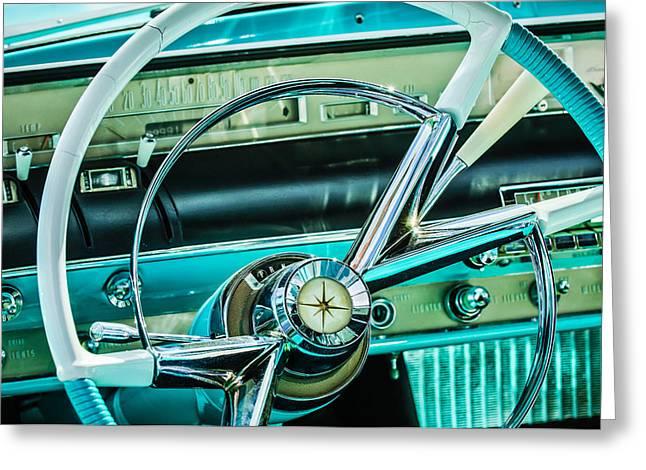 1956 Lincoln Premiere Steering Wheel -0838c Greeting Card by Jill Reger