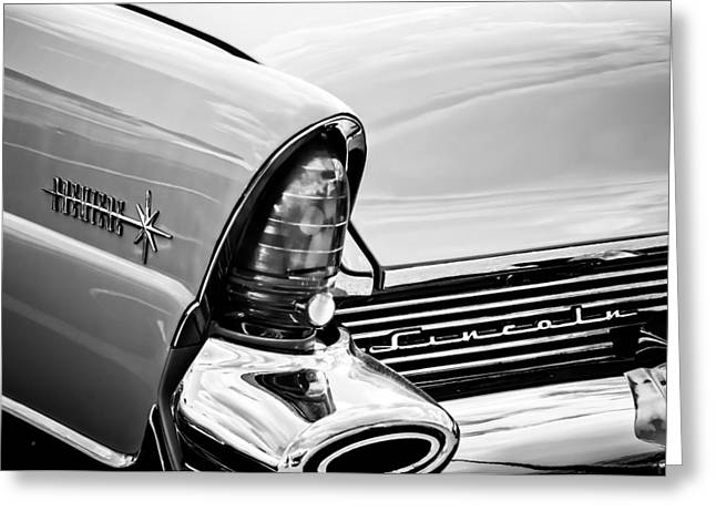 1956 Lincoln Premiere Taillight Emblem -0887bw Greeting Card by Jill Reger