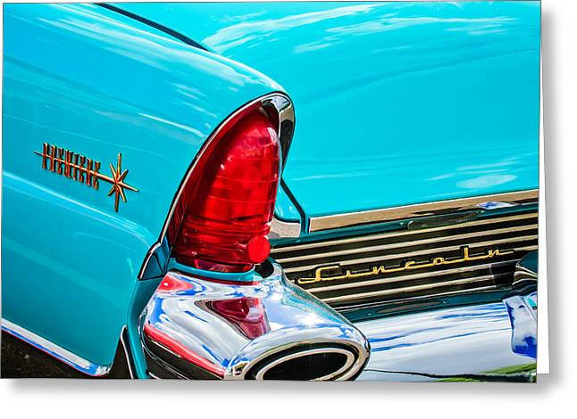 1956 Lincoln Premiere Taillight Emblem -0887c Greeting Card by Jill Reger
