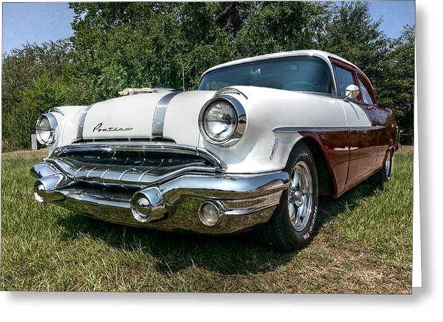 Beautiful Car Greeting Cards - 1956 Pontiac Cheiftain Greeting Card by Linda Unger