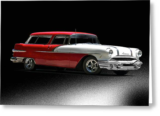 Station Wagon Greeting Cards - 1956 Pontiac Laguna Station Wagon Greeting Card by Dave Koontz