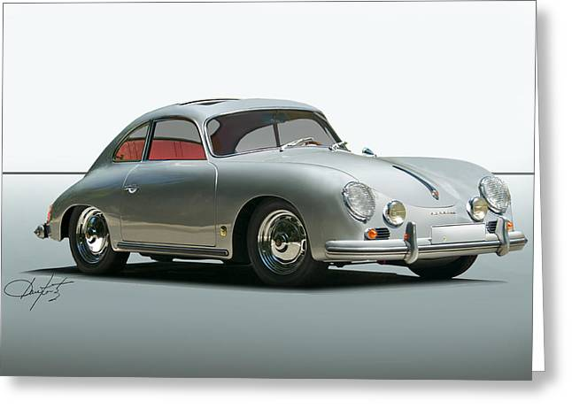 Rally Greeting Cards - 1956 Porsche 356 Greeting Card by Dave Koontz