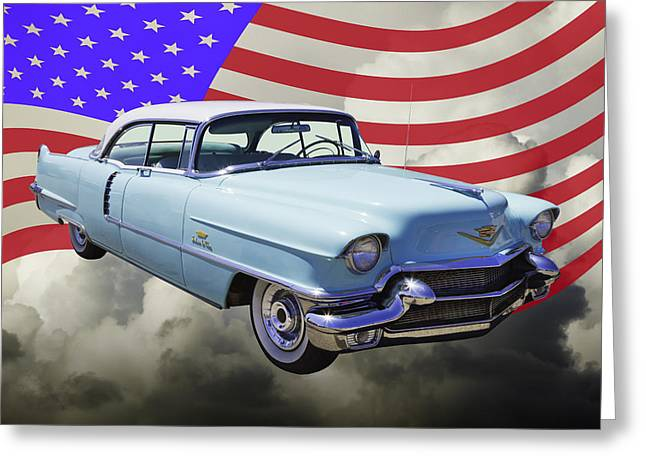 Stylish Car Greeting Cards - 1956 Sedan Deville Cadillac And United States Flag Greeting Card by Keith Webber Jr