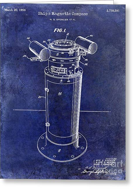Old Boat Greeting Cards - 1956 Ships Compass Patent Drawing Blue Greeting Card by Jon Neidert