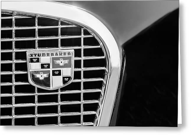 Studebaker Golden Hawk Greeting Cards - 1956 Studebaker Golden Hawk Grille Emblem -1843bw Greeting Card by Jill Reger