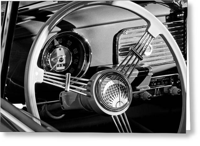 Steering Greeting Cards - 1956 Volkswagen VW Bug Steering Wheel Emblem Greeting Card by Jill Reger