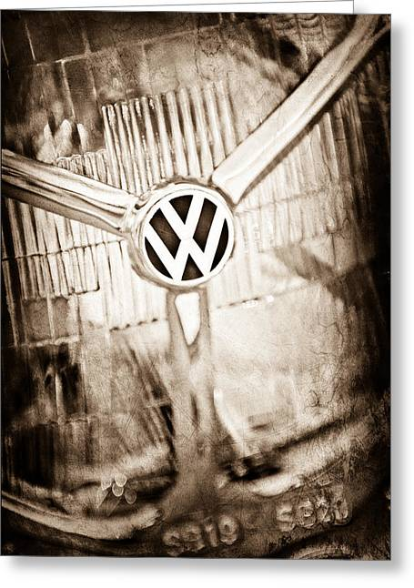 Headlight Greeting Cards - 1956 Volkswagen VW Headlight Emblem Greeting Card by Jill Reger