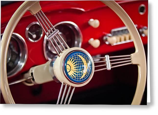 Ghia Greeting Cards - 1956 Volkswagen VW Karmann Ghia Coupe Steering Wheel 2 Greeting Card by Jill Reger